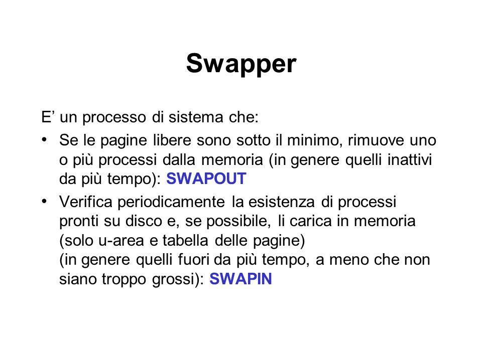 Swapper E un processo di sistema che: Se le pagine libere sono sotto il minimo, rimuove uno o più processi dalla memoria (in genere quelli inattivi da