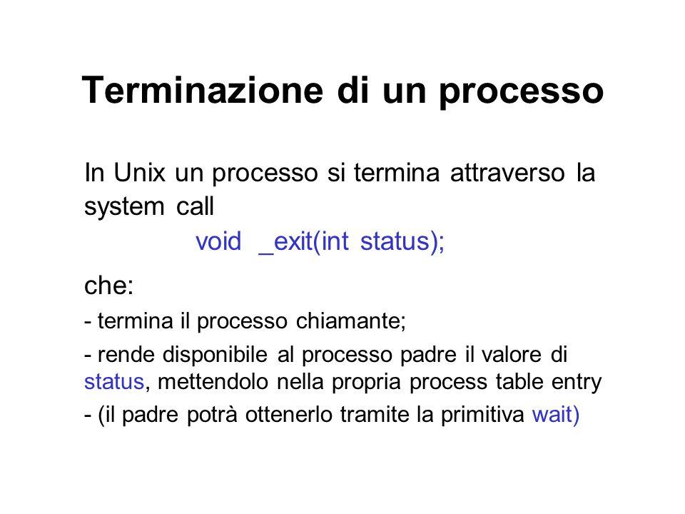 Terminazione di un processo In Unix un processo si termina attraverso la system call void _exit(int status); che: - termina il processo chiamante; - rende disponibile al processo padre il valore di status, mettendolo nella propria process table entry - (il padre potrà ottenerlo tramite la primitiva wait)