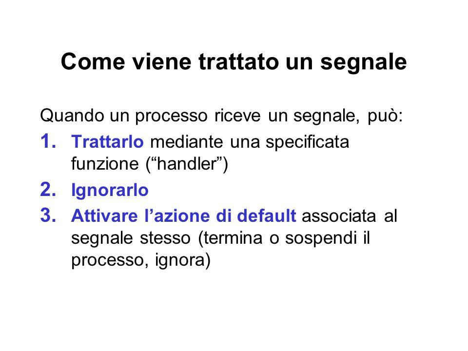 Come viene trattato un segnale Quando un processo riceve un segnale, può: 1. Trattarlo mediante una specificata funzione (handler) 2. Ignorarlo 3. Att