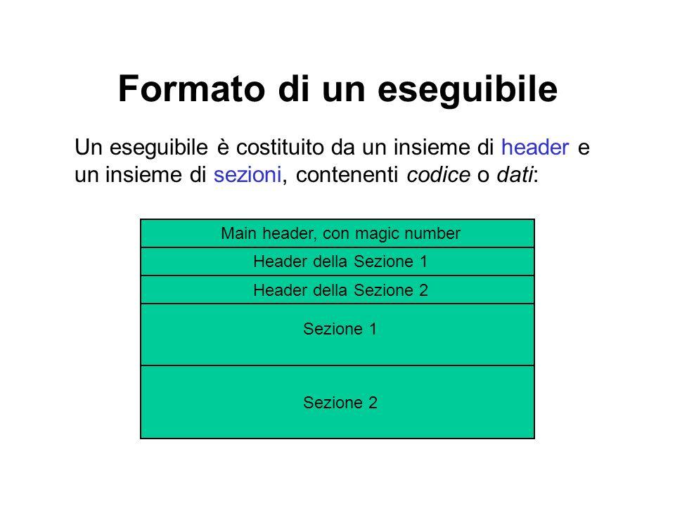 Formato di un eseguibile Un eseguibile è costituito da un insieme di header e un insieme di sezioni, contenenti codice o dati: Main header, con magic number Header della Sezione 1 Header della Sezione 2 Sezione 1 Sezione 2