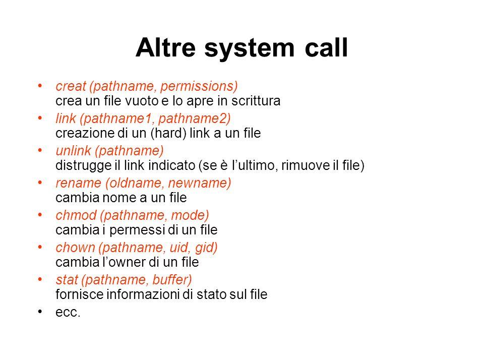 Altre system call creat (pathname, permissions) crea un file vuoto e lo apre in scrittura link (pathname1, pathname2) creazione di un (hard) link a un file unlink (pathname) distrugge il link indicato (se è lultimo, rimuove il file) rename (oldname, newname) cambia nome a un file chmod (pathname, mode) cambia i permessi di un file chown (pathname, uid, gid) cambia lowner di un file stat (pathname, buffer) fornisce informazioni di stato sul file ecc.
