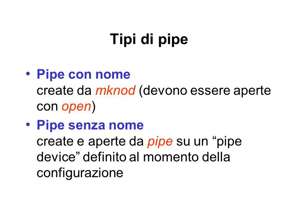 Tipi di pipe Pipe con nome create da mknod (devono essere aperte con open) Pipe senza nome create e aperte da pipe su un pipe device definito al momento della configurazione