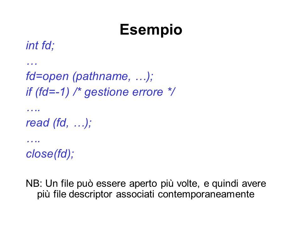 Esempio int fd; … fd=open (pathname, …); if (fd=-1) /* gestione errore */ …. read (fd, …); …. close(fd); NB: Un file può essere aperto più volte, e qu