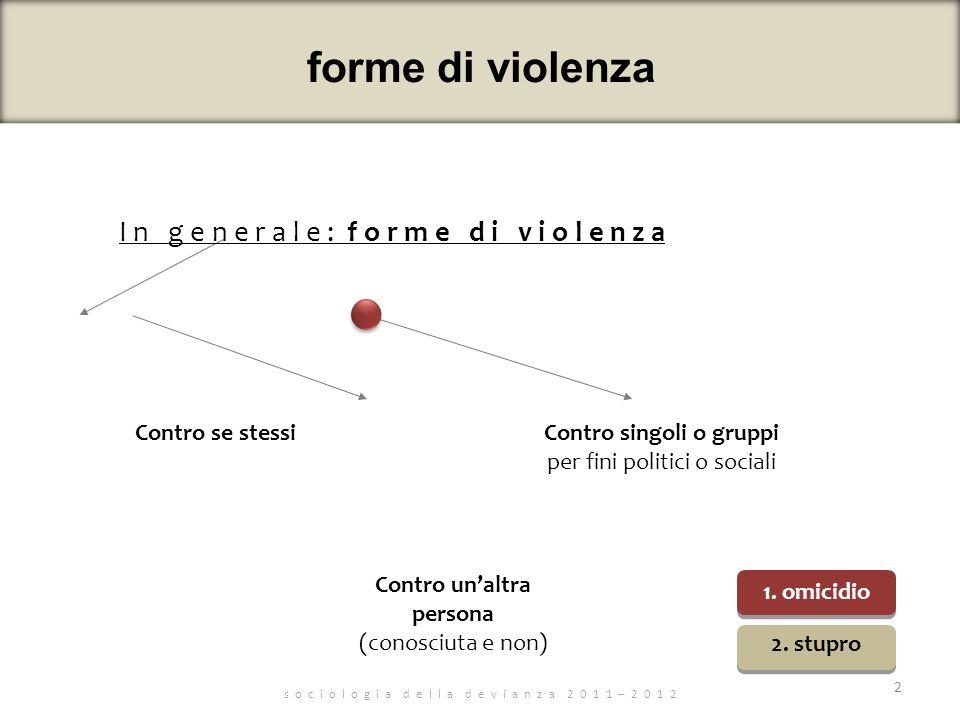 forme di violenza s o c i o l o g i a d e l l a d e v i a n z a 2 0 1 1 – 2 0 1 2 I n g e n e r a l e : f o r m e d i v i o l e n z a 2 Contro se stes