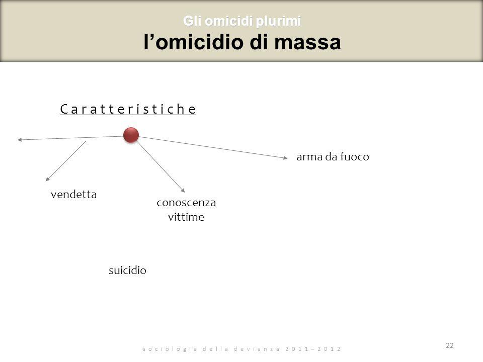 s o c i o l o g i a d e l l a d e v i a n z a 2 0 1 1 – 2 0 1 2 C a r a t t e r i s t i c h e 22 Gli omicidi plurimi Gli omicidi plurimi lomicidio di massa vendetta suicidio conoscenza vittime arma da fuoco