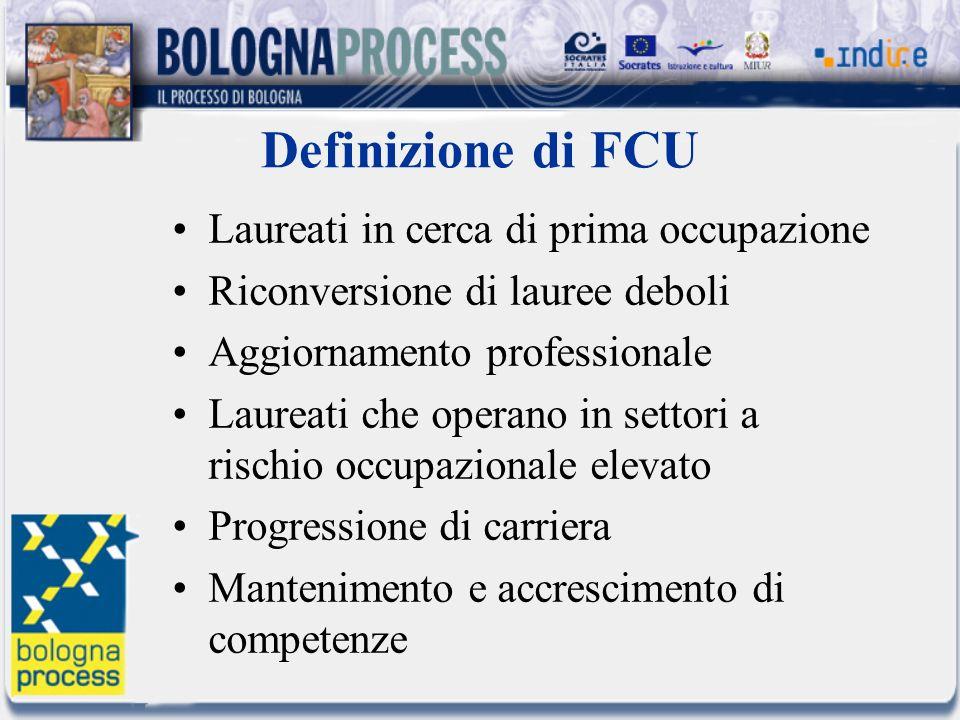 Definizione di FCU Laureati in cerca di prima occupazione Riconversione di lauree deboli Aggiornamento professionale Laureati che operano in settori a rischio occupazionale elevato Progressione di carriera Mantenimento e accrescimento di competenze