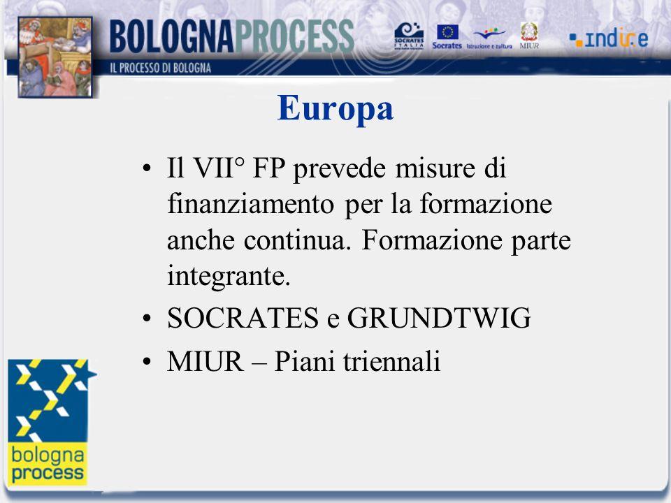 Europa Il VII° FP prevede misure di finanziamento per la formazione anche continua. Formazione parte integrante. SOCRATES e GRUNDTWIG MIUR – Piani tri