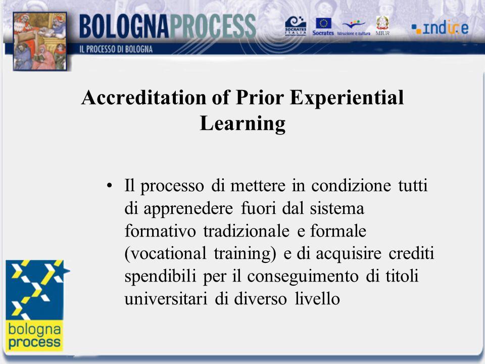 Accreditation of Prior Experiential Learning Il processo di mettere in condizione tutti di apprenedere fuori dal sistema formativo tradizionale e formale (vocational training) e di acquisire crediti spendibili per il conseguimento di titoli universitari di diverso livello