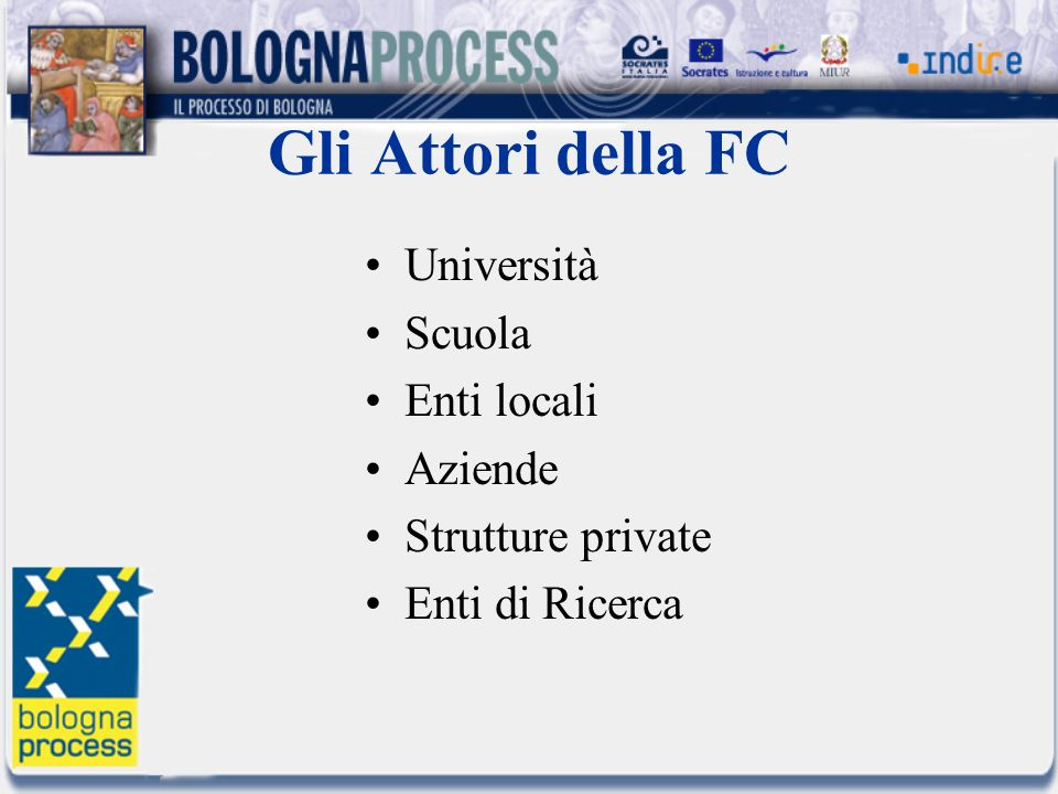 Gli Attori della FC Università Scuola Enti locali Aziende Strutture private Enti di Ricerca