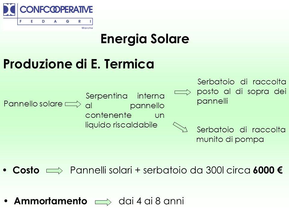 Energia Solare Produzione di E. Termica Pannello solare Serbatoio di raccolta posto al di sopra dei pannelli Serbatoio di raccolta munito di pompa Ser