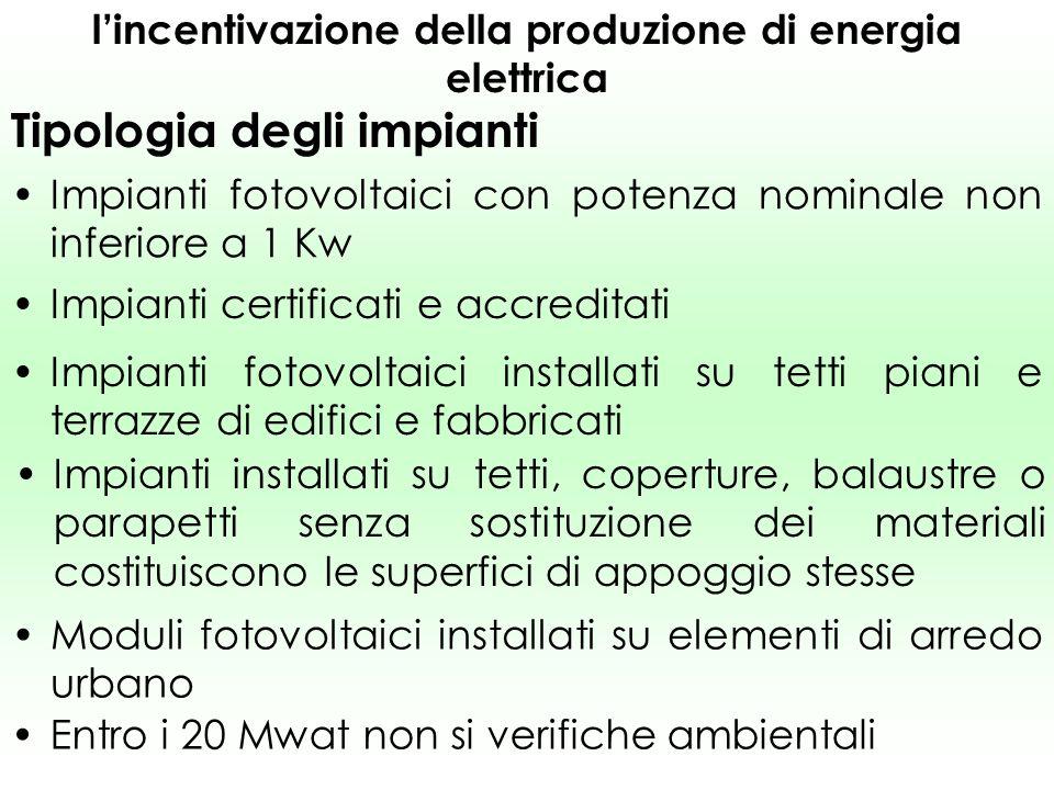 lincentivazione della produzione di energia elettrica Tipologia degli impianti Impianti fotovoltaici collegati alla rete elettrica, mediante un unico punto di contatto Impianti fotovoltaici entrati in esercizio dal 1° ottobre 2005 e il 31 dicembre 2008 ( 31 dicembre 2010).