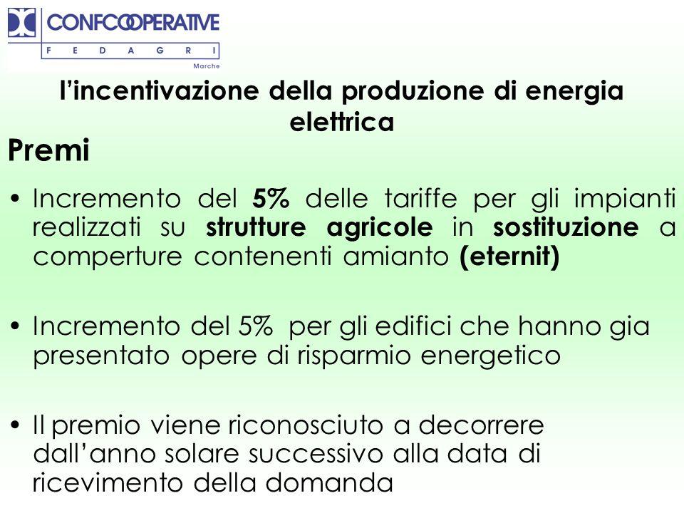 Incremento del 5% delle tariffe per gli impianti realizzati su strutture agricole in sostituzione a comperture contenenti amianto (eternit) Incremento