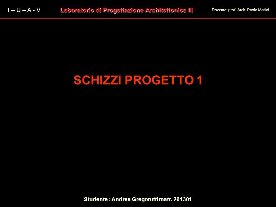 I – U – A - V Laboratorio di Progettazione Architettonica III Docente: prof. Arch. Paolo Merlini SCHIZZI PROGETTO 1 Studente : Andrea Gregorutti matr.