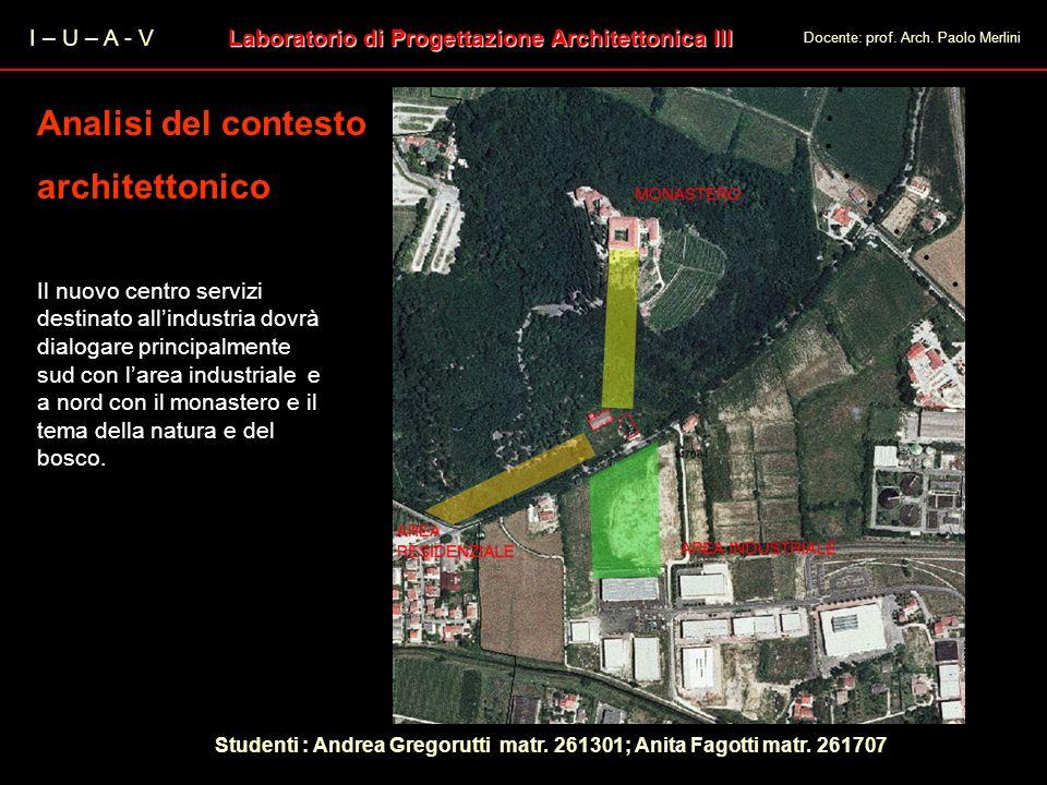 I – U – A - V Laboratorio di Progettazione Architettonica III Docente: prof. Arch. Paolo Merlini Analisi del contesto architettonico Analisi del conte