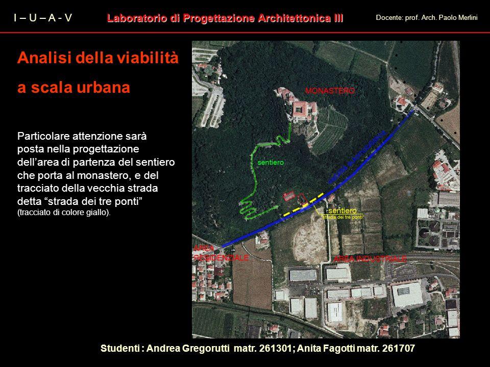 I – U – A - V Laboratorio di Progettazione Architettonica III Docente: prof. Arch. Paolo Merlini Analisi della viabilità a scala urbana Analisi della