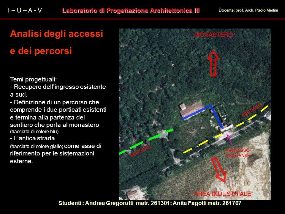I – U – A - V Laboratorio di Progettazione Architettonica III Docente: prof. Arch. Paolo Merlini Analisi degli accessi e dei percorsi Analisi degli ac