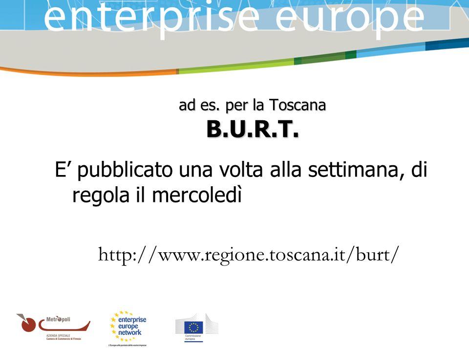 Azienda Speciale della Camera di Commercio ad es. per la Toscana B.U.R.T. E pubblicato una volta alla settimana, di regola il mercoledì http://www.reg