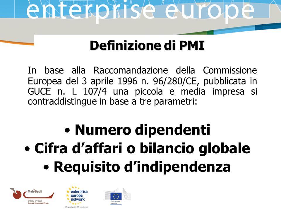 Azienda Speciale della Camera di Commercio Definizione di PMI In base alla Raccomandazione della Commissione Europea del 3 aprile 1996 n. 96/280/CE, p