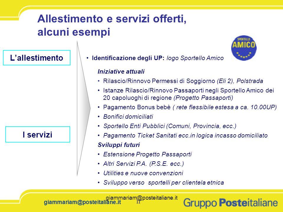 11 giammariam@posteitaliane.it I servizi Iniziative attuali Rilascio/Rinnovo Permessi di Soggiorno (Eli 2), Polstrada Istanze Rilascio/Rinnovo Passapo