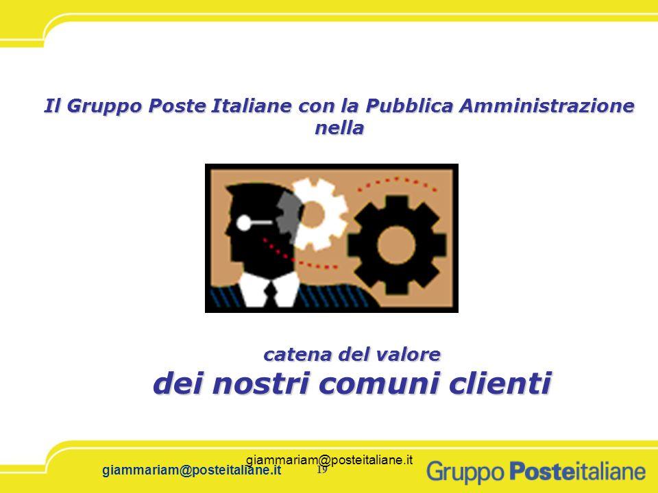 19 giammariam@posteitaliane.it Il Gruppo Poste Italiane con la Pubblica Amministrazione nella catena del valore dei nostri comuni clienti giammariam@p