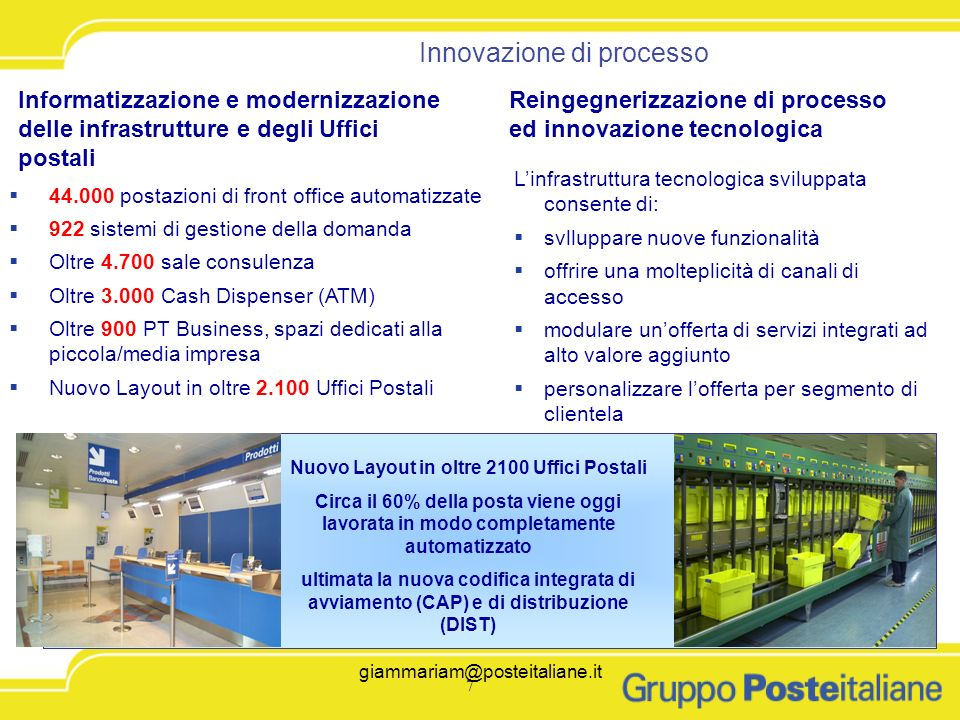 7 7 Innovazione di processo Reingegnerizzazione di processo ed innovazione tecnologica Informatizzazione e modernizzazione delle infrastrutture e degl