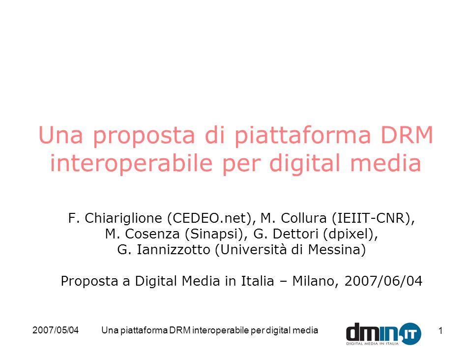 2007/05/04Una piattaforma DRM interoperabile per digital media 22 Perché dmin.it dovrebbe scegliere questa proposta/2 Realizzata in OSS con licenza MPL, e mantenuta da una comunità internazionale di sviluppatori Integrabile con le altre 2 gambe della proposta dmin.it Strutturata come piattaforma capace di supportare –Gli esempi richiesti (e molti altri use case del DMP) –Open ReleaseMAF e Media Streaming MAF, ott.