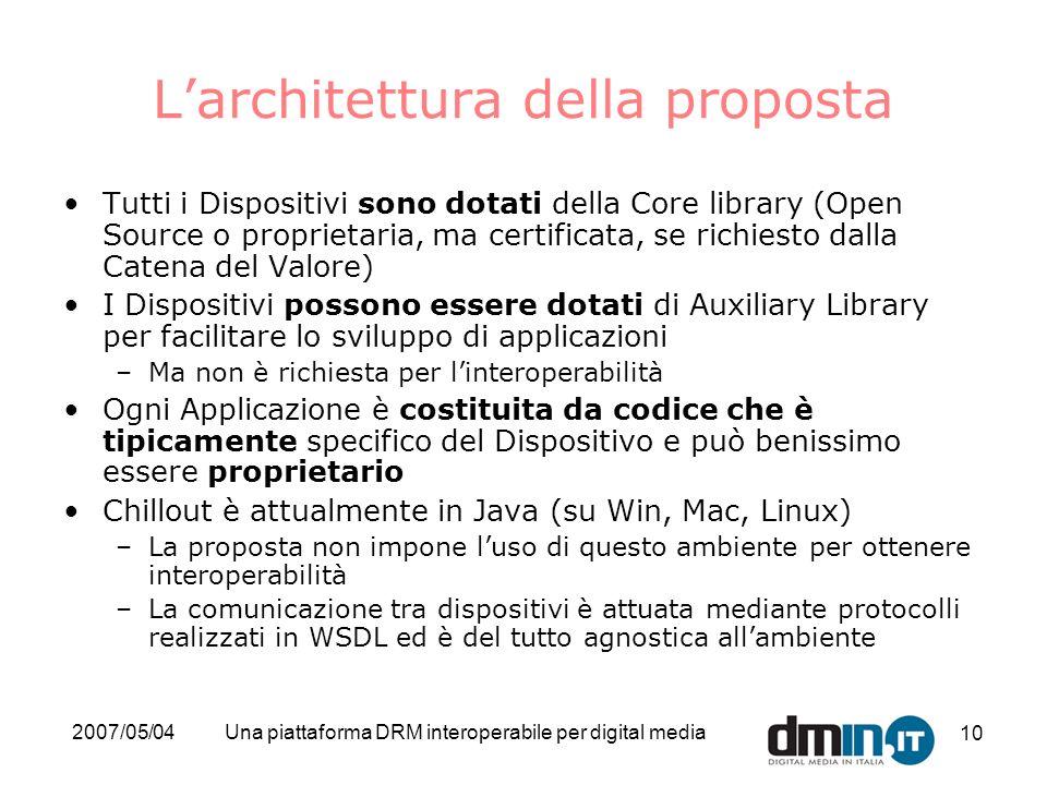 2007/05/04Una piattaforma DRM interoperabile per digital media 10 Larchitettura della proposta Tutti i Dispositivi sono dotati della Core library (Ope