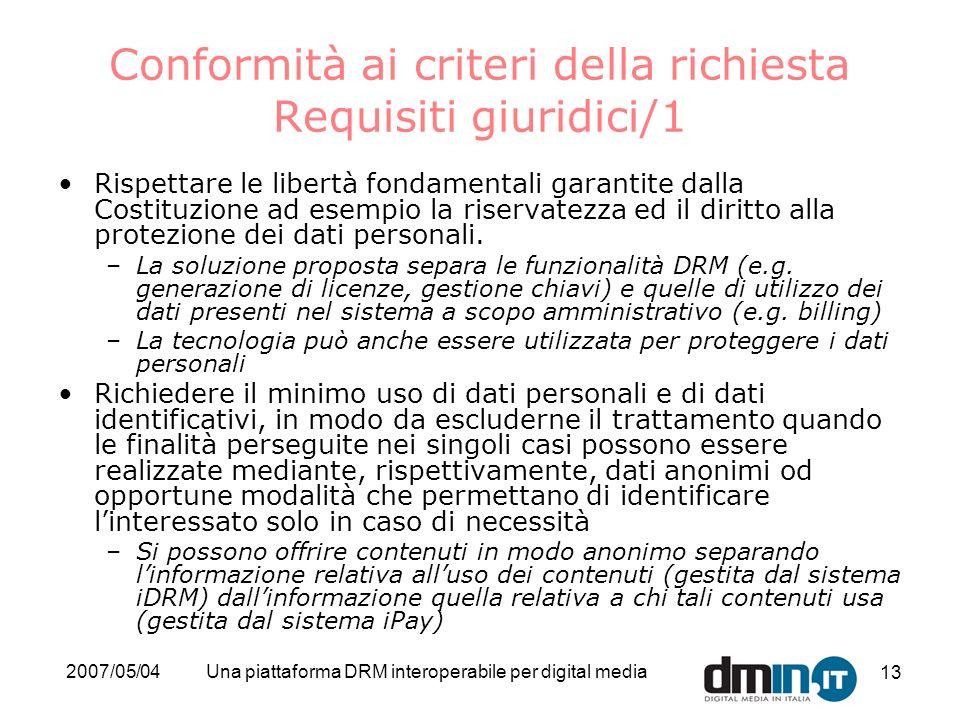 2007/05/04Una piattaforma DRM interoperabile per digital media 13 Conformità ai criteri della richiesta Requisiti giuridici/1 Rispettare le libertà fo