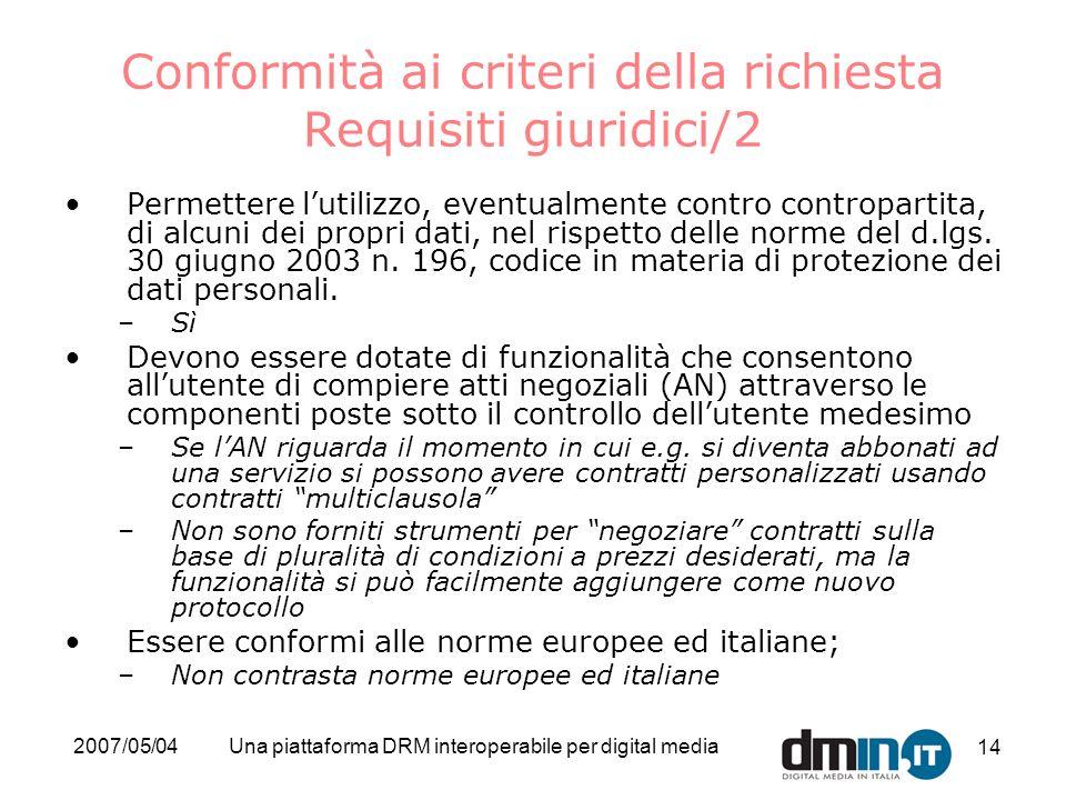 2007/05/04Una piattaforma DRM interoperabile per digital media 14 Conformità ai criteri della richiesta Requisiti giuridici/2 Permettere lutilizzo, ev