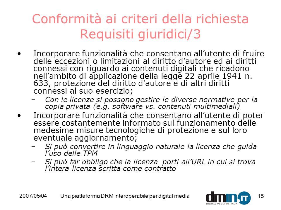 2007/05/04Una piattaforma DRM interoperabile per digital media 15 Conformità ai criteri della richiesta Requisiti giuridici/3 Incorporare funzionalità