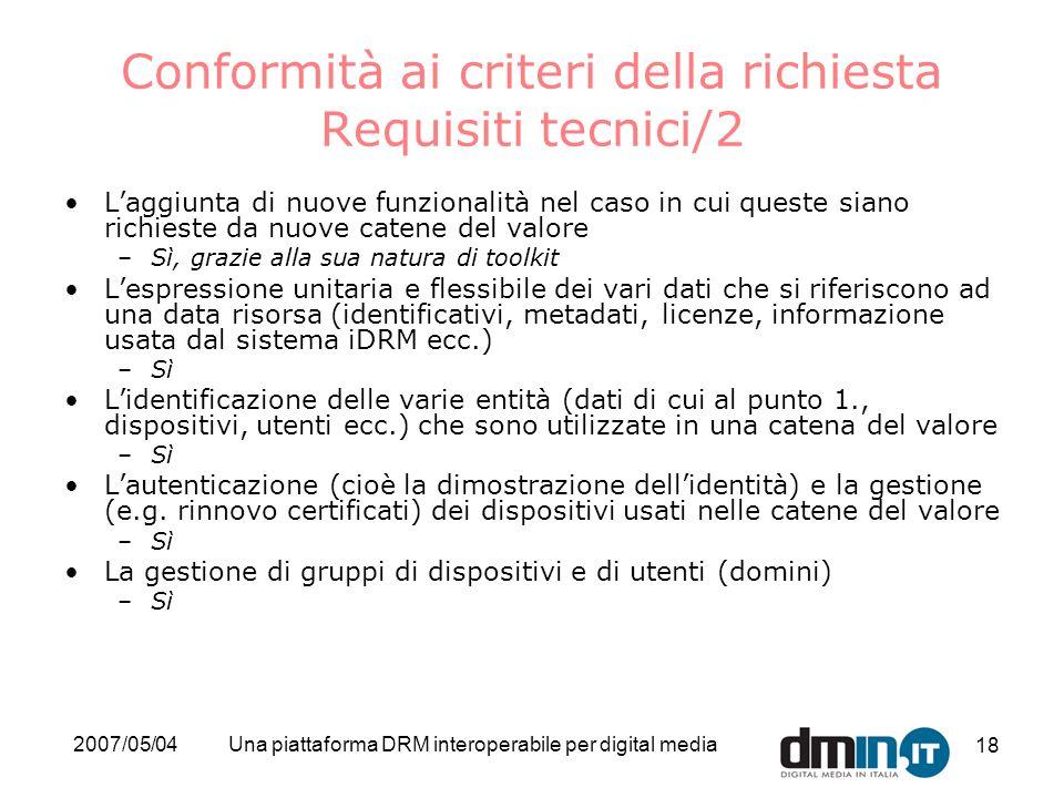 2007/05/04Una piattaforma DRM interoperabile per digital media 18 Conformità ai criteri della richiesta Requisiti tecnici/2 Laggiunta di nuove funzion