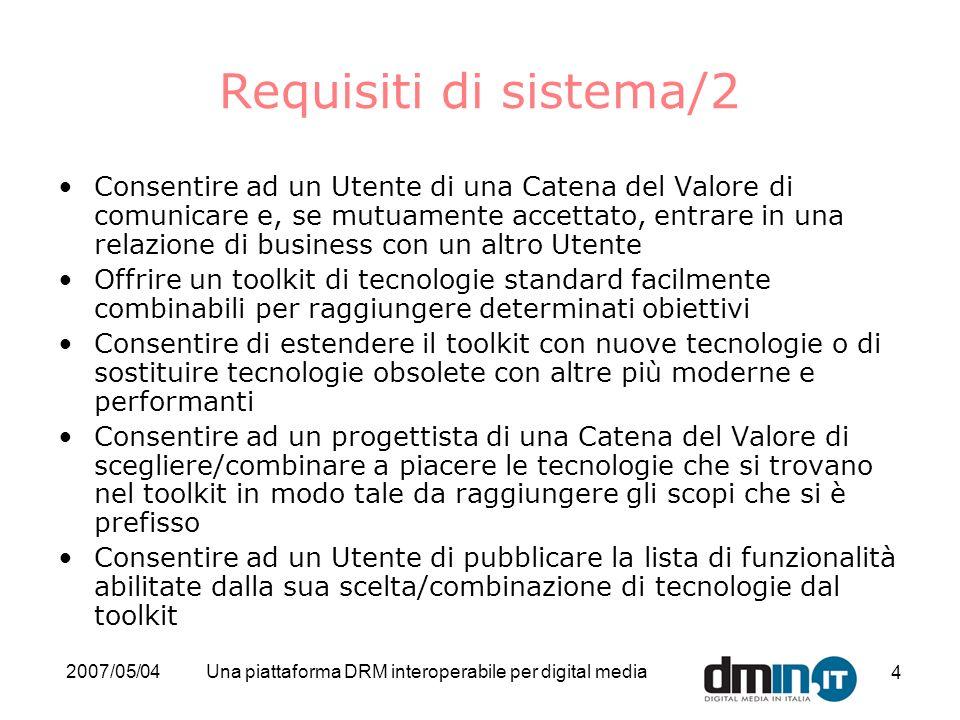 2007/05/04Una piattaforma DRM interoperabile per digital media 4 Requisiti di sistema/2 Consentire ad un Utente di una Catena del Valore di comunicare