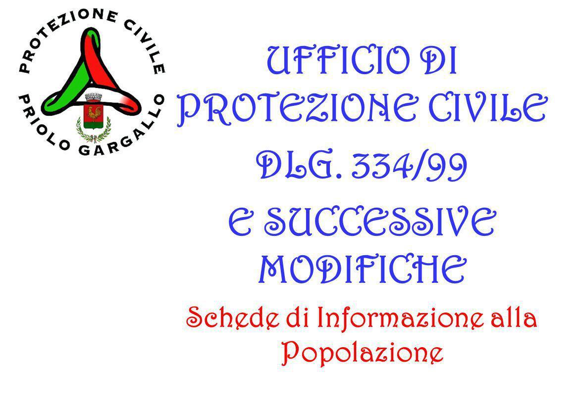 UFFICIO DI PROTEZIONE CIVILE DLG. 334/99 E SUCCESSIVE MODIFICHE Schede di Informazione alla Popolazione