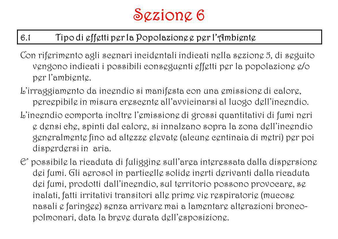 Con riferimento agli scenari incidentali indicati nella sezione 5, di seguito vengono indicati i possibili conseguenti effetti per la popolazione e/o