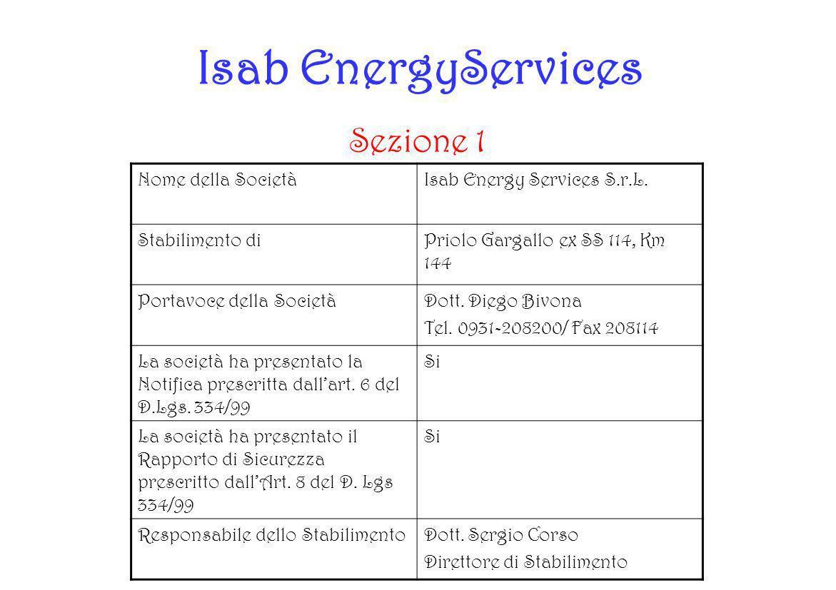 Isab EnergyServices Sezione 1 Nome della SocietàIsab Energy Services S.r.L. Stabilimento diPriolo Gargallo ex SS 114, Km 144 Portavoce della SocietàDo