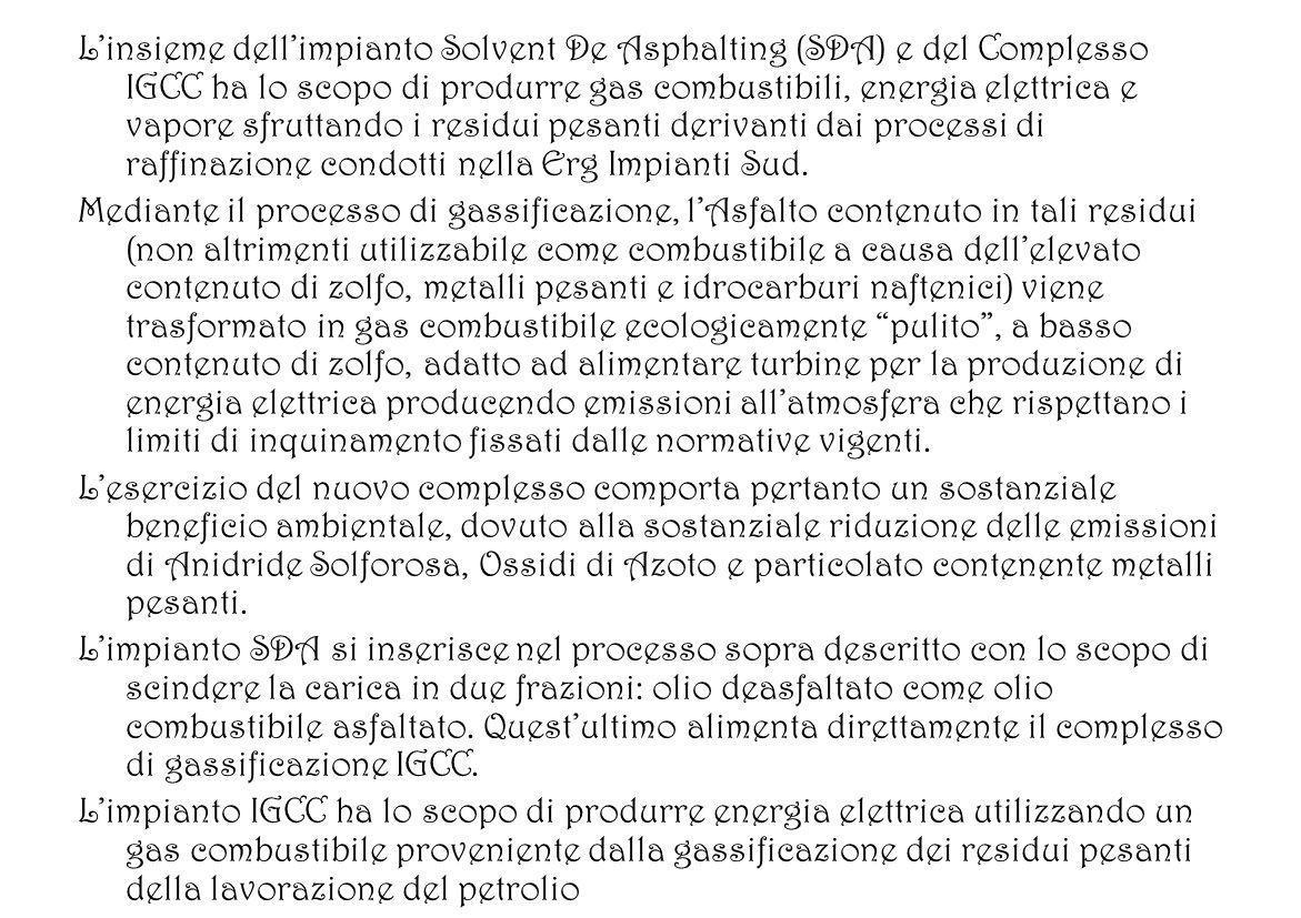 Linsieme dellimpianto Solvent De Asphalting (SDA) e del Complesso IGCC ha lo scopo di produrre gas combustibili, energia elettrica e vapore sfruttando