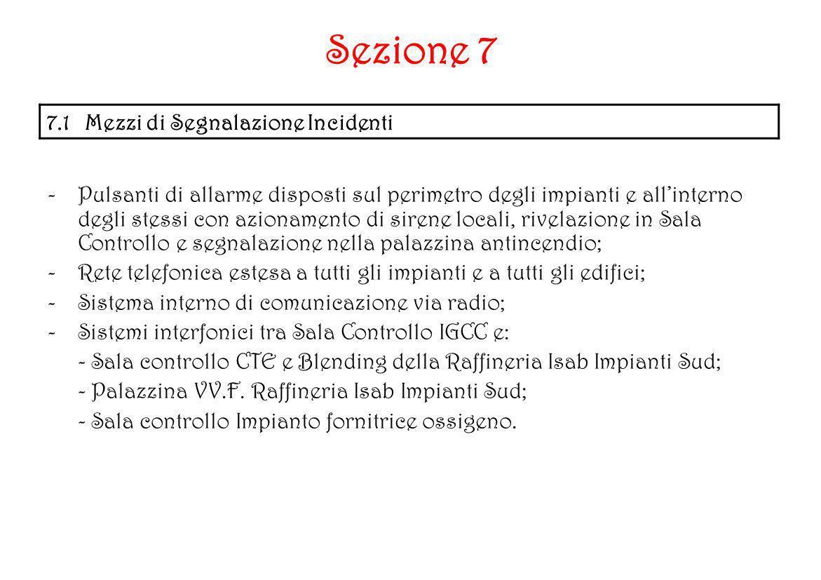 Sezione 7 7.1 Mezzi di Segnalazione Incidenti -Pulsanti di allarme disposti sul perimetro degli impianti e allinterno degli stessi con azionamento di