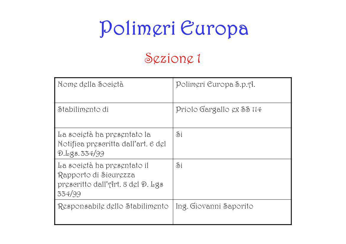 Polimeri Europa Sezione 1 Nome della SocietàPolimeri Europa S.p.A. Stabilimento diPriolo Gargallo ex SS 114 La società ha presentato la Notifica presc