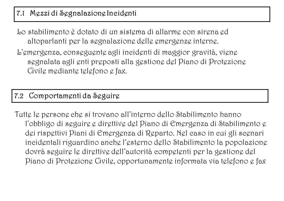 7.1 Mezzi di Segnalazione Incidenti Lo stabilimento è dotato di un sistema di allarme con sirena ed altoparlanti per la segnalazione delle emergenze i