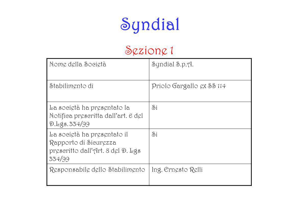 Syndial Sezione 1 Nome della SocietàSyndial S.p.A. Stabilimento diPriolo Gargallo ex SS 114 La società ha presentato la Notifica prescritta dallart. 6