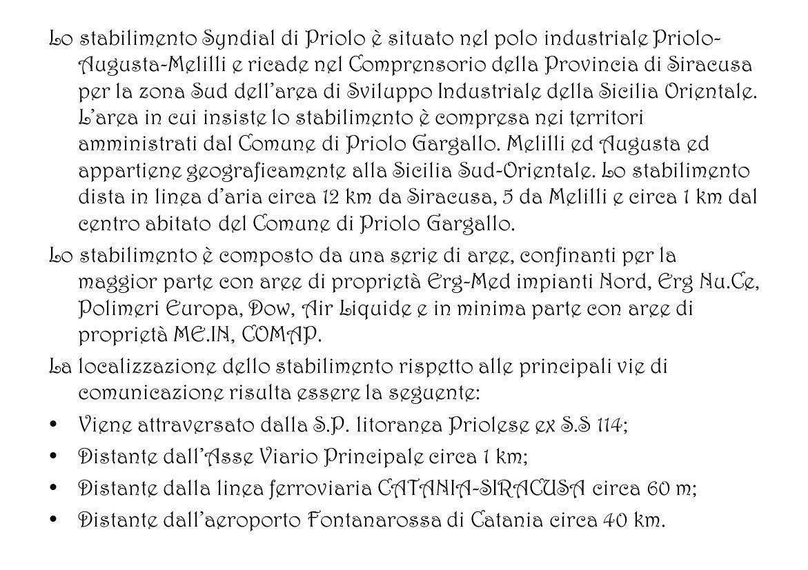 Lo stabilimento Syndial di Priolo è situato nel polo industriale Priolo- Augusta-Melilli e ricade nel Comprensorio della Provincia di Siracusa per la