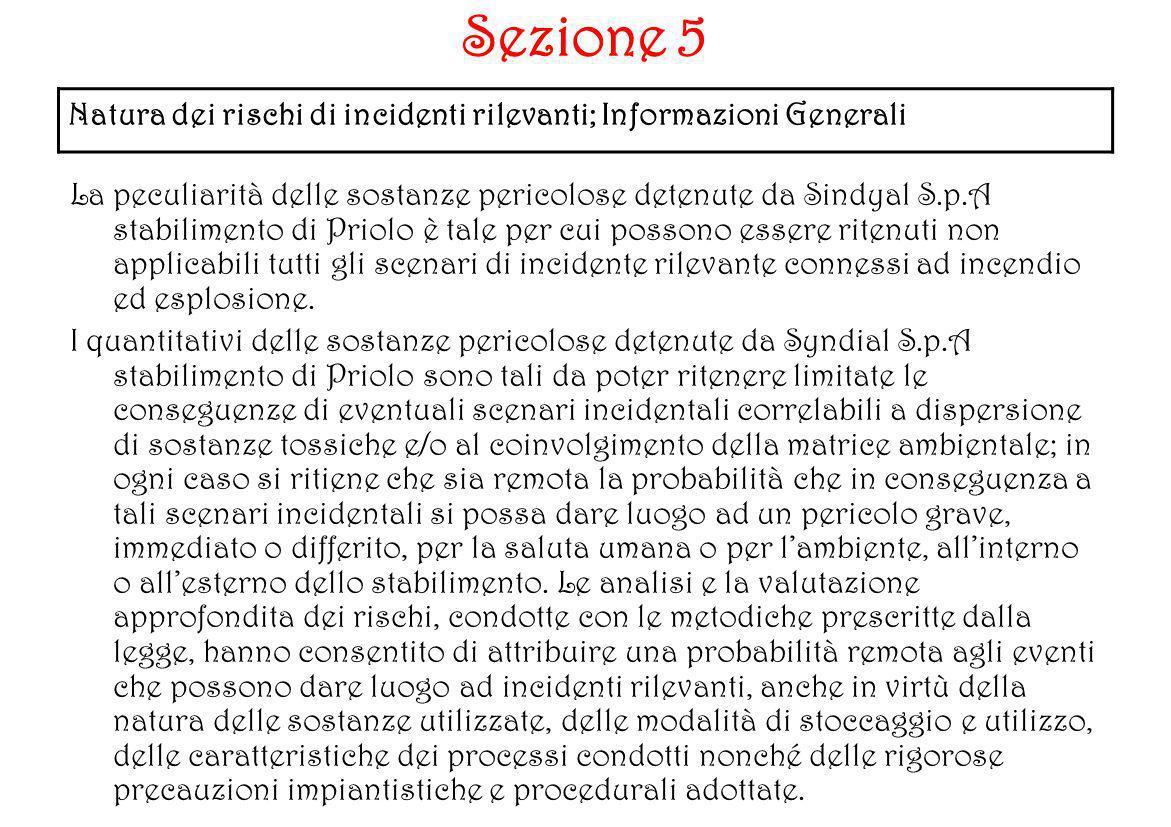 Natura dei rischi di incidenti rilevanti; Informazioni Generali Sezione 5 La peculiarità delle sostanze pericolose detenute da Sindyal S.p.A stabilime