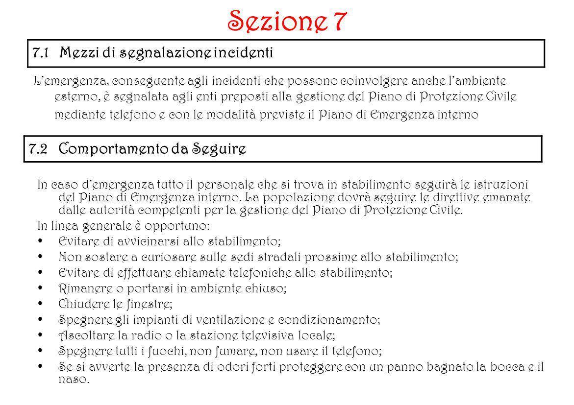 7.1 Mezzi di segnalazione incidenti Lemergenza, conseguente agli incidenti che possono coinvolgere anche lambiente esterno, è segnalata agli enti prep