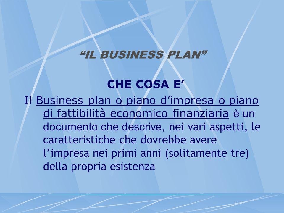 IL BUSINESS PLAN CHE COSA E Il Business plan o piano dimpresa o piano di fattibilità economico finanziaria è un documento che descrive, nei vari aspet