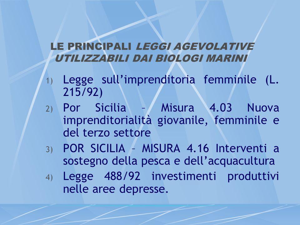 LE PRINCIPALI LEGGI AGEVOLATIVE UTILIZZABILI DAI BIOLOGI MARINI 1) Legge sullimprenditoria femminile (L. 215/92) 2) Por Sicilia – Misura 4.03 Nuova im