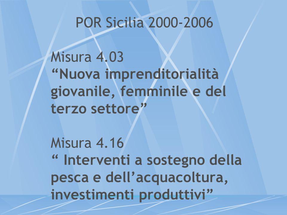 POR Sicilia 2000-2006 Misura 4.03 Nuova imprenditorialità giovanile, femminile e del terzo settore Misura 4.16 Interventi a sostegno della pesca e del