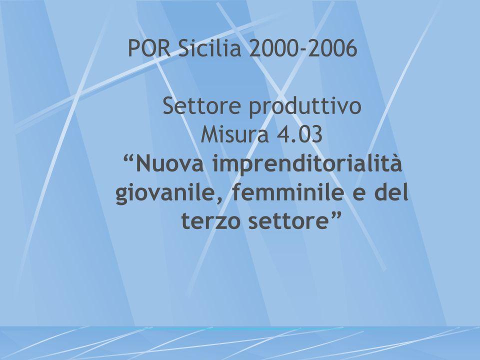 POR Sicilia 2000-2006 Settore produttivo Misura 4.03 Nuova imprenditorialità giovanile, femminile e del terzo settore