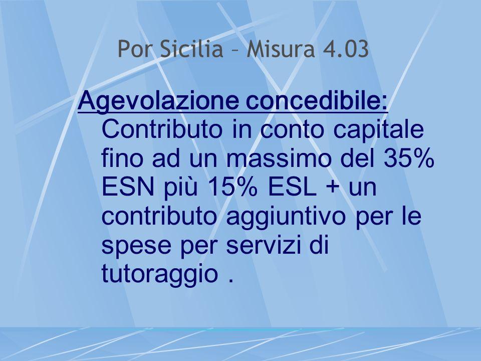 Por Sicilia – Misura 4.03 Agevolazione concedibile: Contributo in conto capitale fino ad un massimo del 35% ESN più 15% ESL + un contributo aggiuntivo