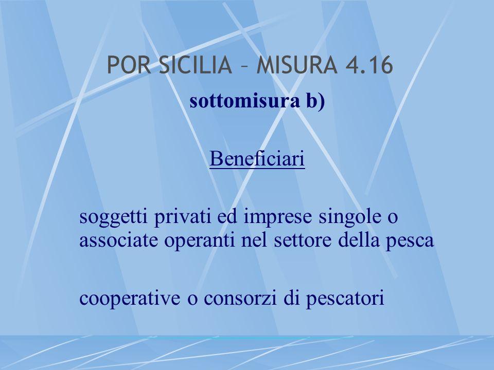 POR SICILIA – MISURA 4.16 sottomisura b) Beneficiari soggetti privati ed imprese singole o associate operanti nel settore della pesca cooperative o co