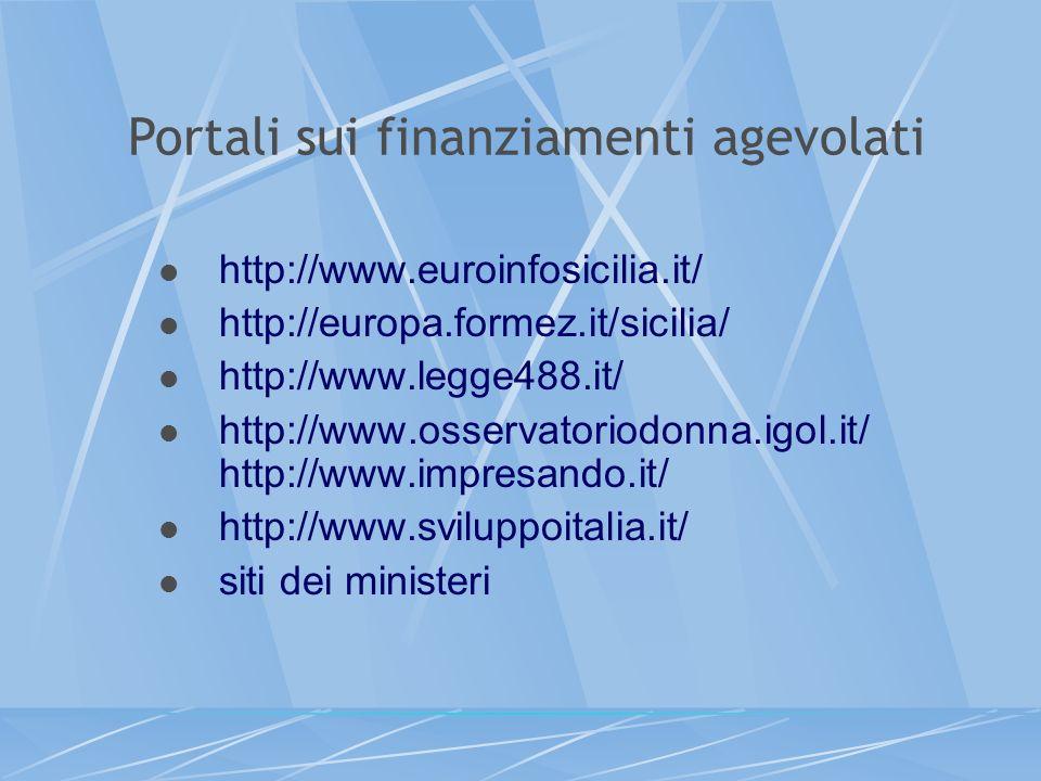 Portali sui finanziamenti agevolati http://www.euroinfosicilia.it/ http://europa.formez.it/sicilia/ http://www.legge488.it/ http://www.osservatoriodon
